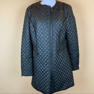 Via Spiga quilted asymmetric crew neck coat black